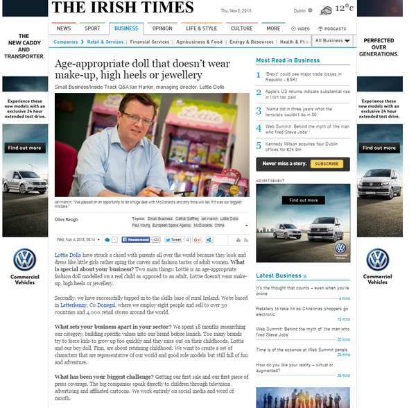 Ian Harkin Lottie Dolls Ireland Irish Times