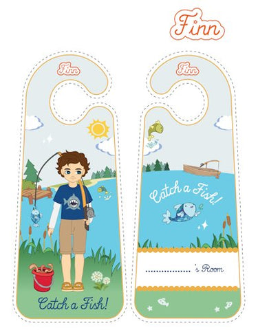 Gone Fishing Finn printable door hangers