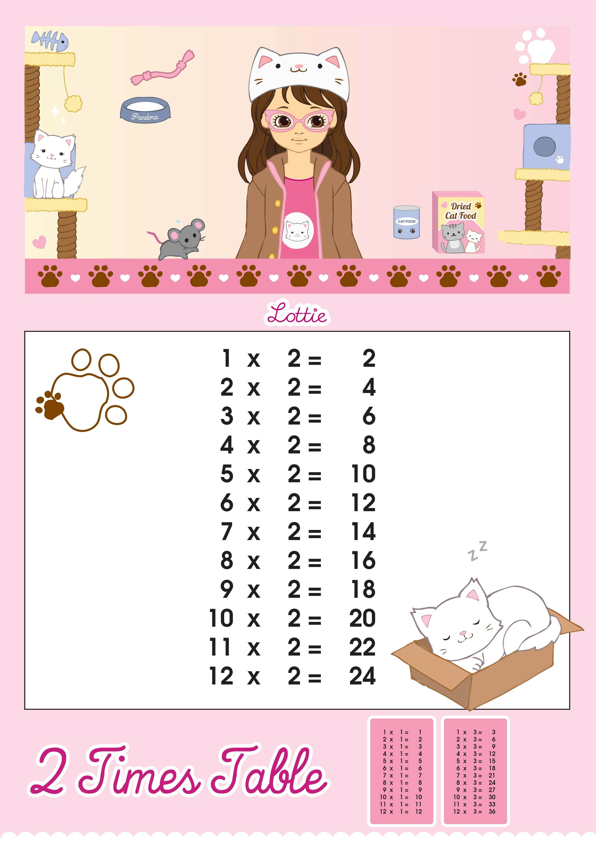 2 Times Table Printable Chart Lottie Dolls