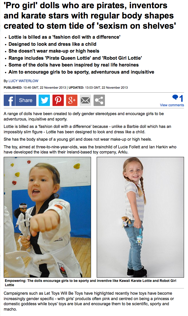 Lottie dolls in the Daily Mail