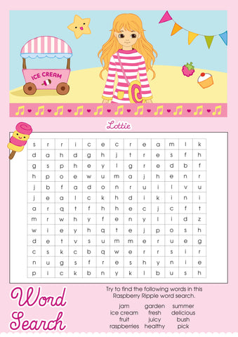Raspberry Ripple Lottie printable word search