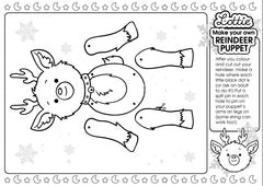Reindeer Puppet Colouring Sheet