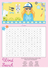 Robot Girl Lottie printable word search