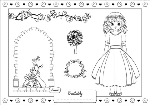 Royal Flower Girl coloring sheet