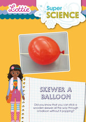 Skewer a balloon activity for kids