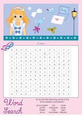 Snow Queen Lottie printable word search