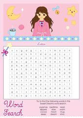 Sweet Dreams Lottie printable word search