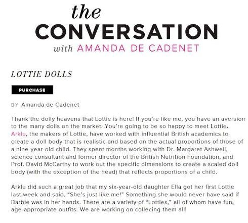 Lottie Dolls on The Conversation with Amanda de Cadenet