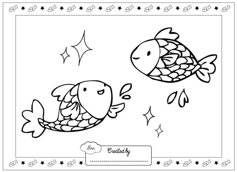 Gone Fishing Finn and Lottie colouring page