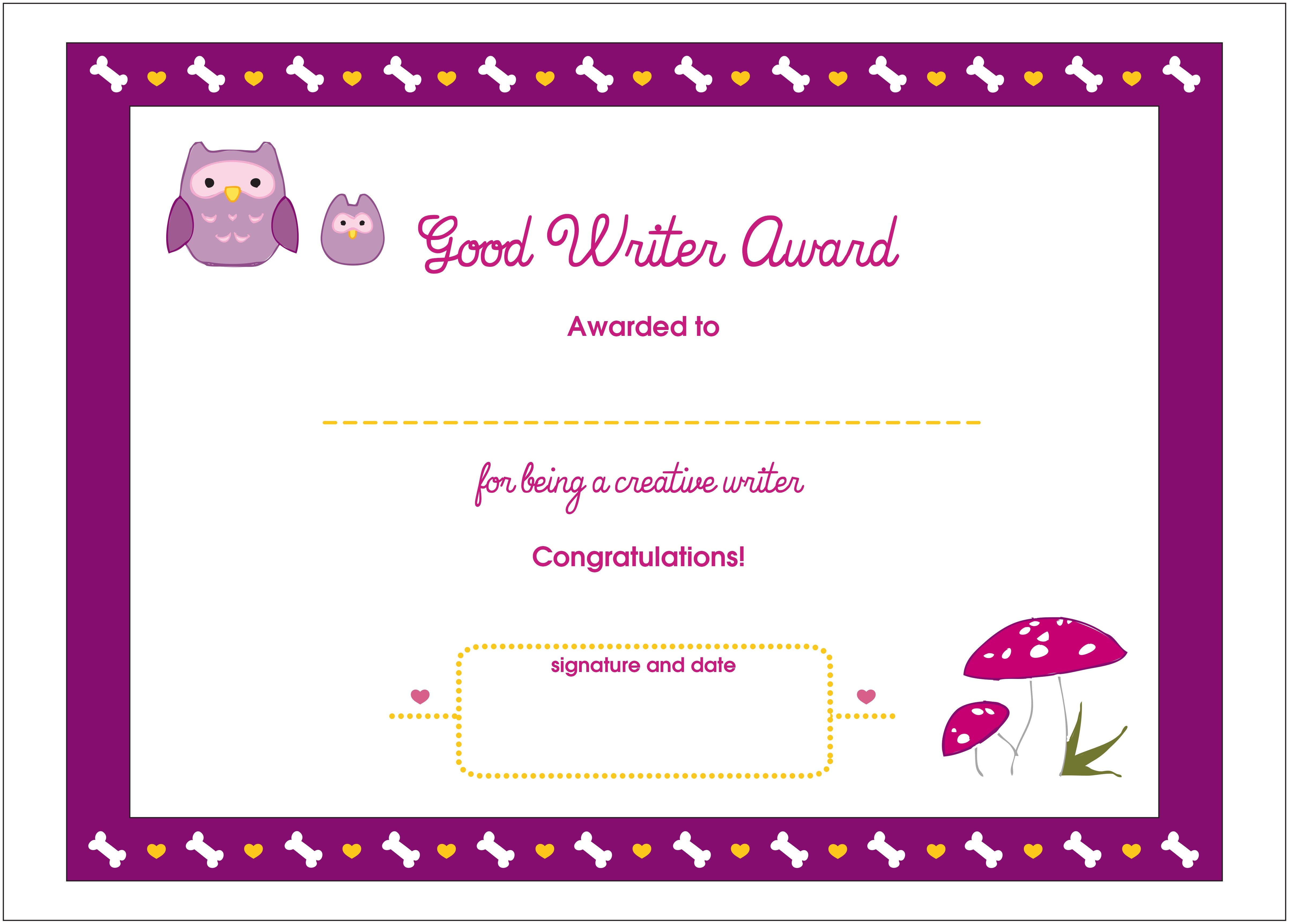good writer printable award certificate lottie dolls