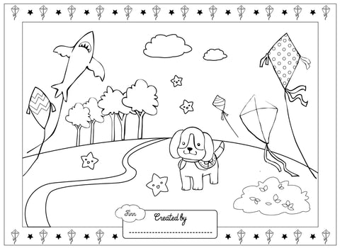 Kite Flyer Finn colouring page