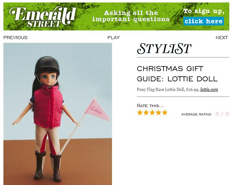 Pony Flag Race Lottie Doll is a Christmas gift idea in Stylist magazine