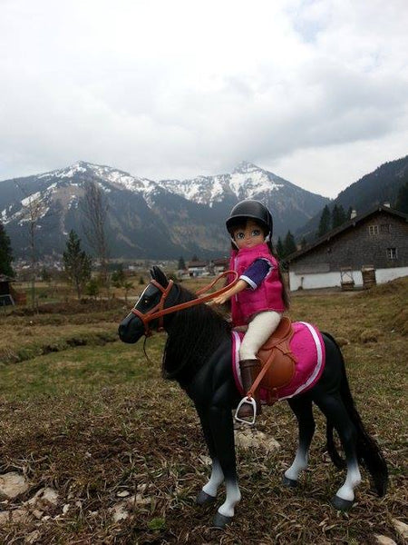 Where's Lottie? Riding her pony in the Tannheim Valley in the Austrian Tyrol.
