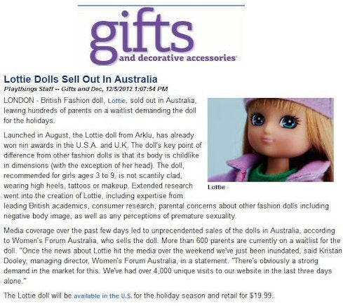 Lottie dolls in Gifts and Decorative Accessories magazine