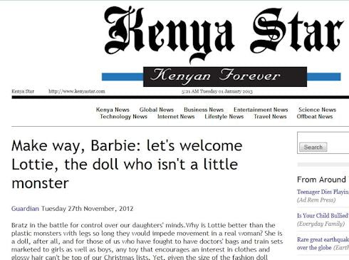 Lottie Dolls in the Kenya Star