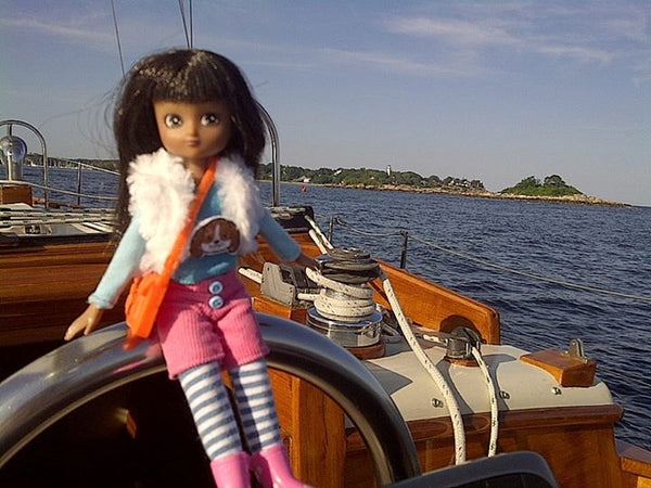 Where's Lottie? Here's Lottie sailing a boat in Manchester-by-the-Sea, Massachusetts