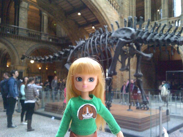Where's Lottie? Inspecting dinosaur skeletons at the Natural History Museum, London, UK