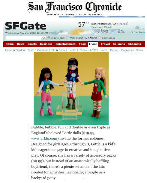 Lottie dolls in the San Fransico Chronicle