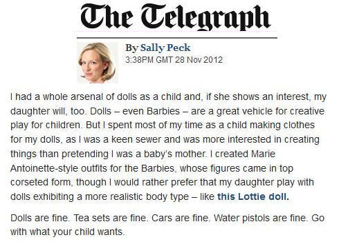 Lottie dolls in The Telegraph
