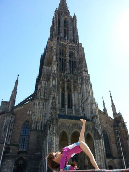 Where's Lottie? Here's Lottie doing gymnastics training in front of Ulm Minster, Germany