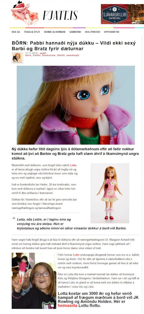 Lottie dolls coverage in Icelandic lifestyle website Pjattrofurnar