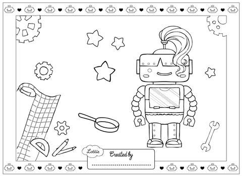 Robot Girl Lottie colouring page