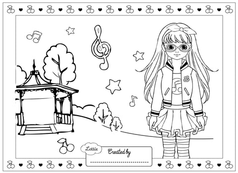 Rockabilly Lottie colouring page
