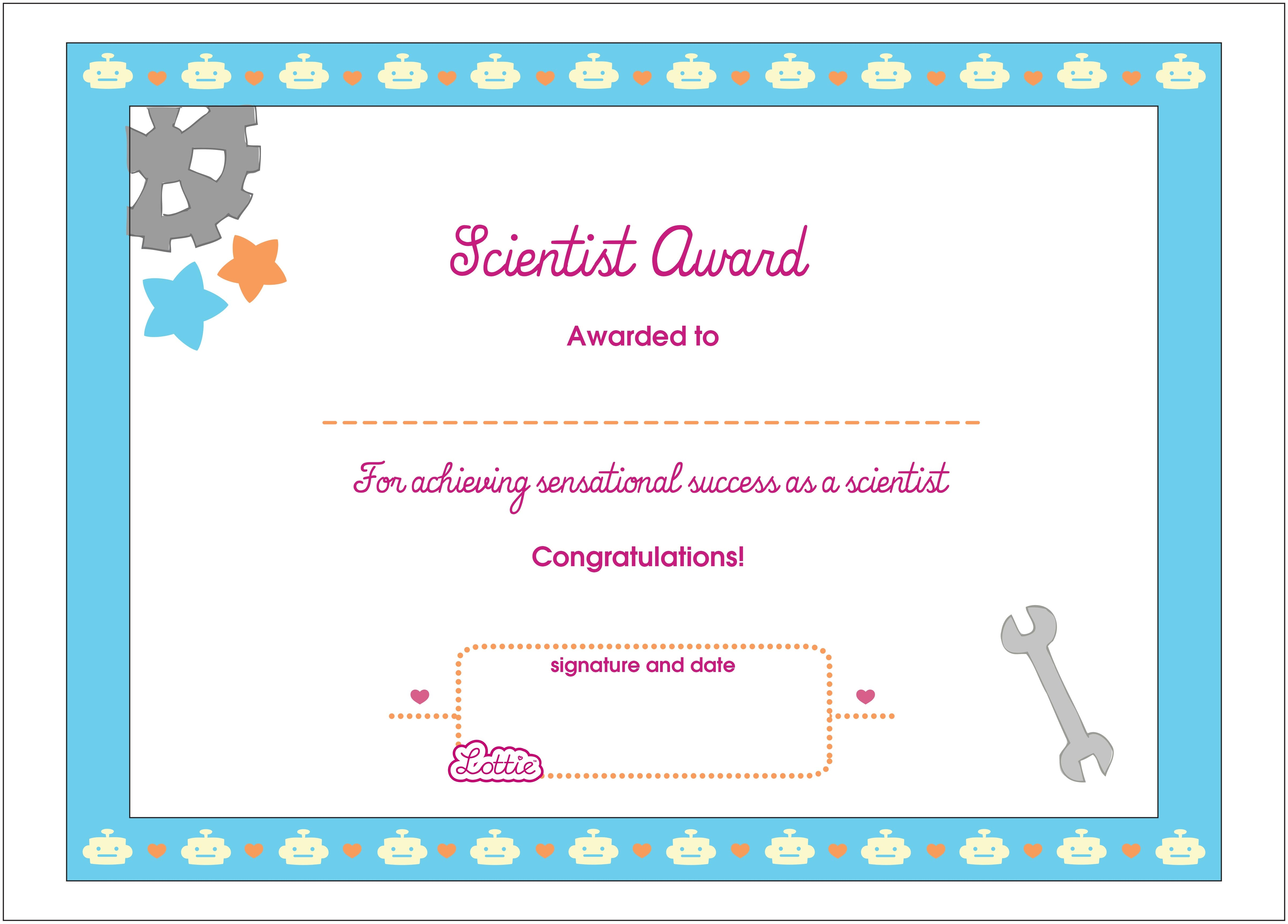 picture relating to Printable Certificates for Kids identify Science Printable Award Certification Lottie Dolls