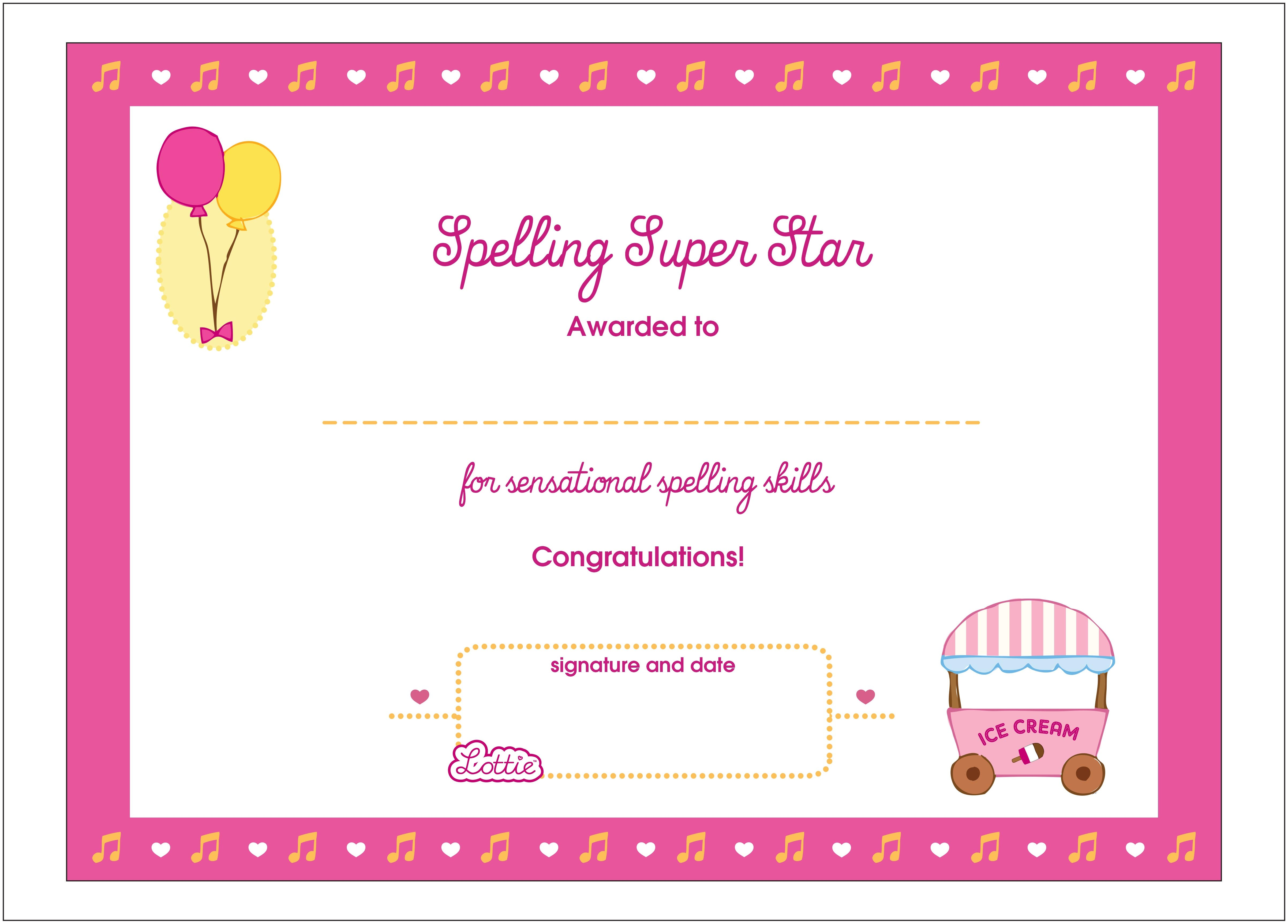 Spelling super star printable award certificate lottie dolls spelling super star printable award certificate 1betcityfo Image collections