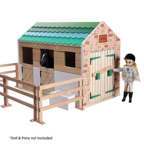Pony-riders will love Lottie Dolls' horse stable toy set