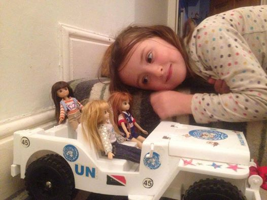 Where's Lottie? Lottie dolls driving a UN Peace Jeep