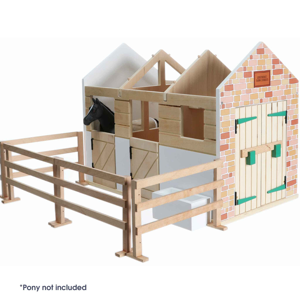 Toy Horse Stables Wooden Playset Lottie Dolls