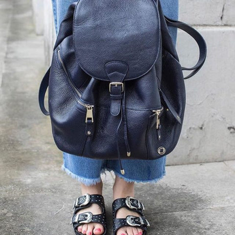 Original Kerikit Real Leather Thor Navy Backpack Lifestyle My Baby Edit