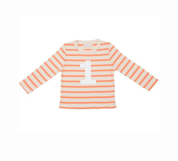 Long Sleeve T-Shirt  - Numbered 1 Peaches & Cream Breton Stripe