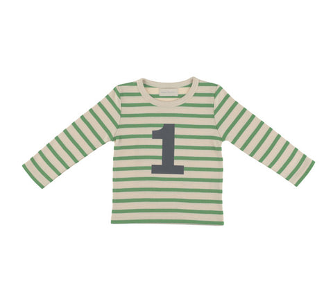 Long Sleeve T-Shirt  - Numbered 1 Gooseberry & Cream Breton Stripe