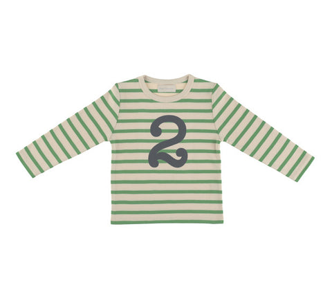 Long Sleeve T-Shirt  - Numbered 2 Gooseberry & Cream Breton Stripe