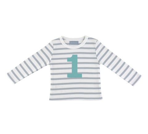 Long Sleeve T-Shirt  - Numbered 1 Grey & White Breton Stripe