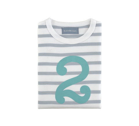 Long Sleeve T-Shirt  - Numbered 2 Grey & White Breton Stripe
