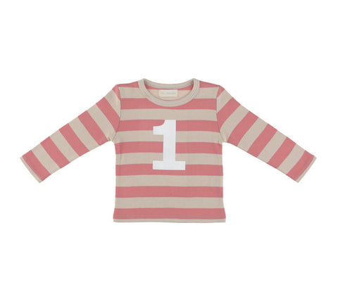 Long Sleeve T-Shirt - Numbered 1 Posy Pink & Cream Breton Stripe