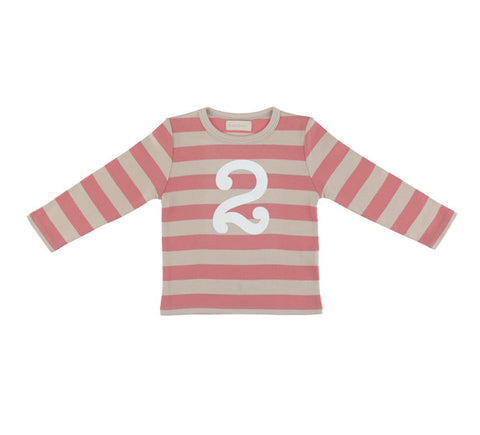 Long Sleeve T-Shirt - Numbered 2 Posy Pink & Cream Breton Stripe