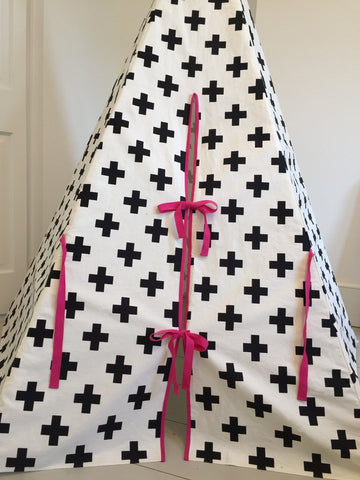 Original Wildfire Teepee Cross Print Pink Trim Close Up MyBabyEdit