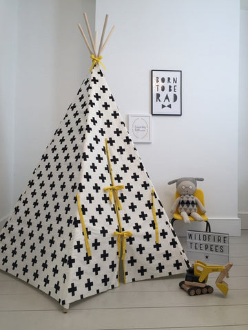 Original Wildfire Teepee Cross Print Yellow Trim Closed MyBabyEdit