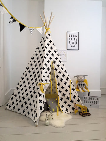Original Wildfire Teepee Cross Print Yellow Trim open MyBabyEdit