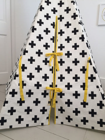 Original Wildfire Teepee Cross Print Yellow Trim Close Up MyBabyEdit