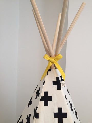 Original Wildfire Teepee Cross Print Yellow Trim Close Up 2 MyBabyEdit