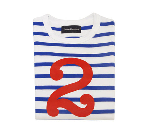 Long Sleeve T-Shirt  - Numbered 2 French Blue & White Breton Stripe
