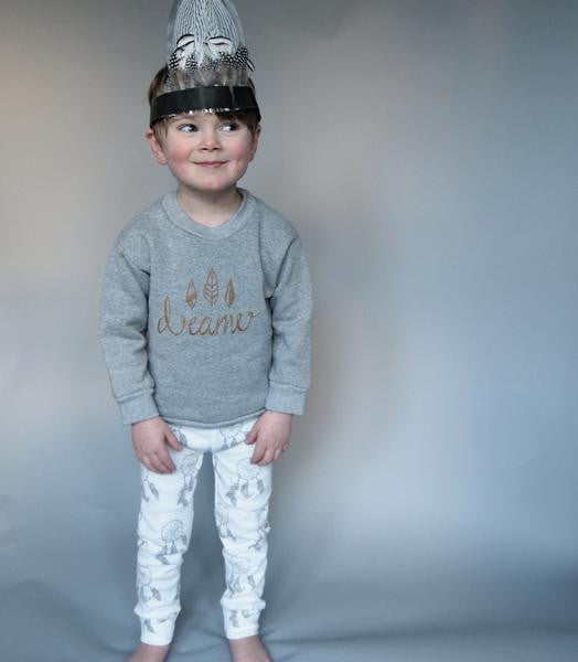Original Buffalo & Bear grey Dreamer Sweatshirt Campaign My Baby Edit