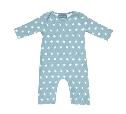 All in One Baby Body - Misty Blue & White Star