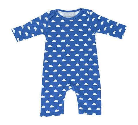 All in One Baby Body - Ink Blue & White Cloud