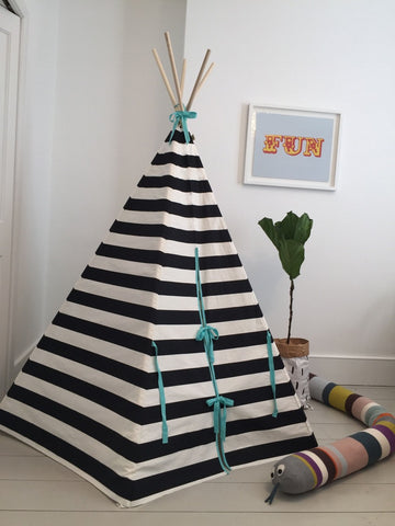 Original Wildfire Teepee Stripe Seafoam Trim closed MyBabyEdit